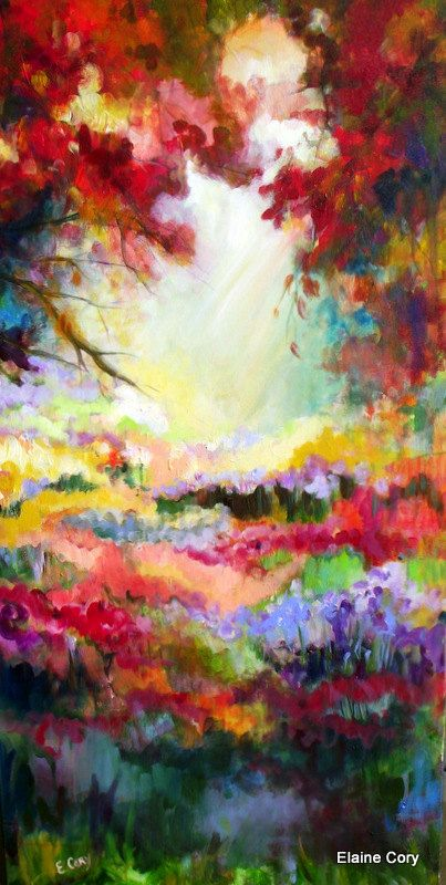Elaine's work is like a collection of snapshots from my own mind.  Large Landscape Painting Original Oil  24 x 48 by ElainesHeartsong, $625.00