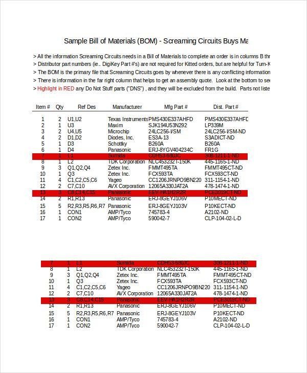 Bill Of Material Invoice Templates 5 Free Xlsx Docs Pdf