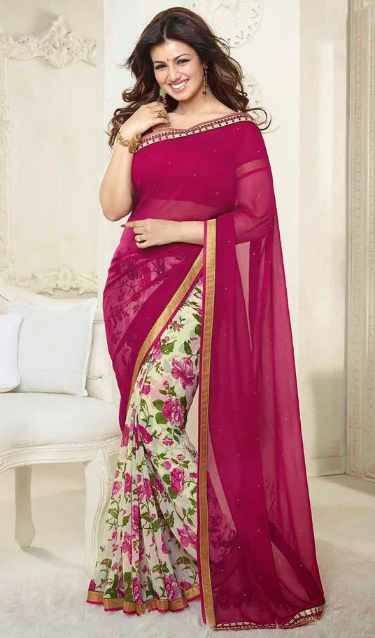 USD 25.71 Ayesha Takia Pink Georgette Party Wear Saree 44550