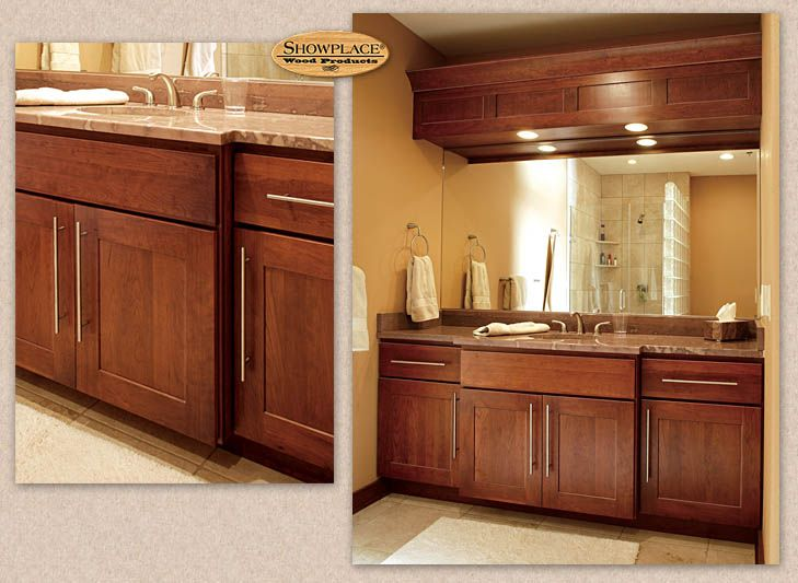 In The Bath, Showplace Cherry Again Contributes Its Glowing Warmth. Note  The Inventive Creation · Bath CabinetsKitchen ...
