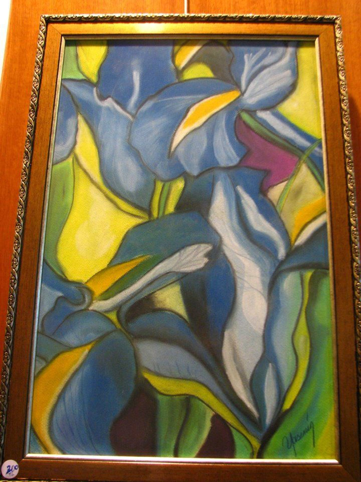 pastel boya-mavi süsenler CRAYONS-BLUE IRIS