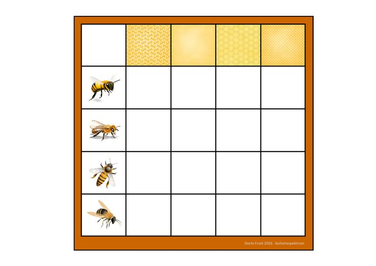 Board for the bee matrix game. Find the belonging tiles on Autismespektrum on Pinterest. By Autismespektrum.