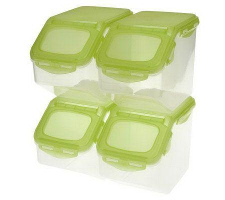 Lock 4 Piece Flip Top Storage Bin Set W Colored Lids