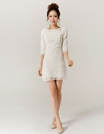 Classy Lace Sleeved Column/ Sheath Short Beach Wedding Dresses/ Lovely Reception Bride Gowns with 3/4 Long Sleeves