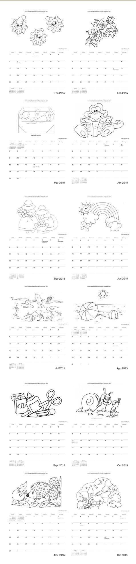 Calendario 2015 para colorear niños - Manualidadesconmishijas