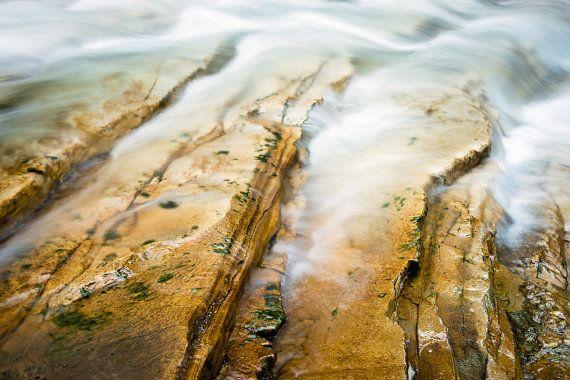 Impresión de foto arte, que fluye agua corriente Banff nacional Parque Johnston Canyon Alberta Canadá montañas rocosas de Canadá paisaje naturaleza fotografía