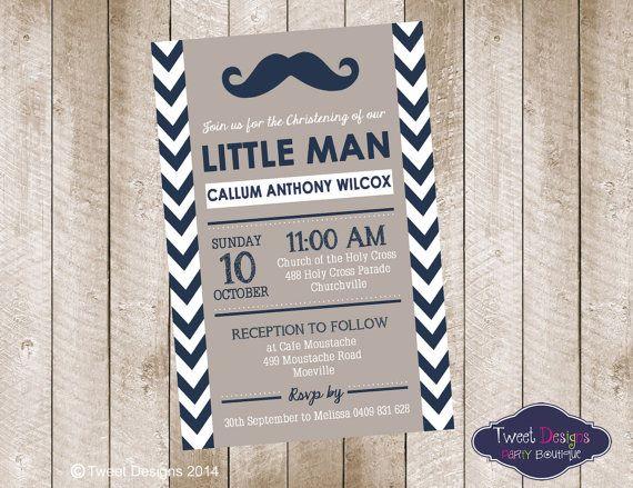 LITTLE MAN CHRISTENING Invitation Little Man by TweetPartyBoutique