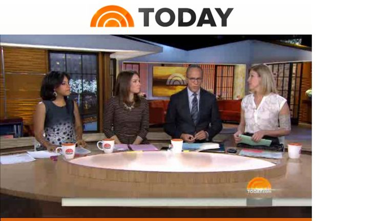 NBC Today Show reporter Kristen Dahlgren wearing picc line armband sleeve in 'Trellis Rose' by PICC Cover Fashions. (Dec 6, 2014)