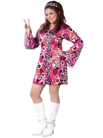 Womens Feelin Groovy Costume | Plus Size 70's Halloween Costumes