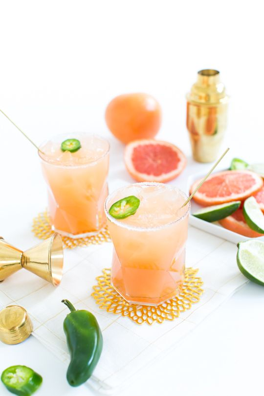 One of my current favorite cocktails with a kick, the spicy paloma! It's simple and perfect for Summer...