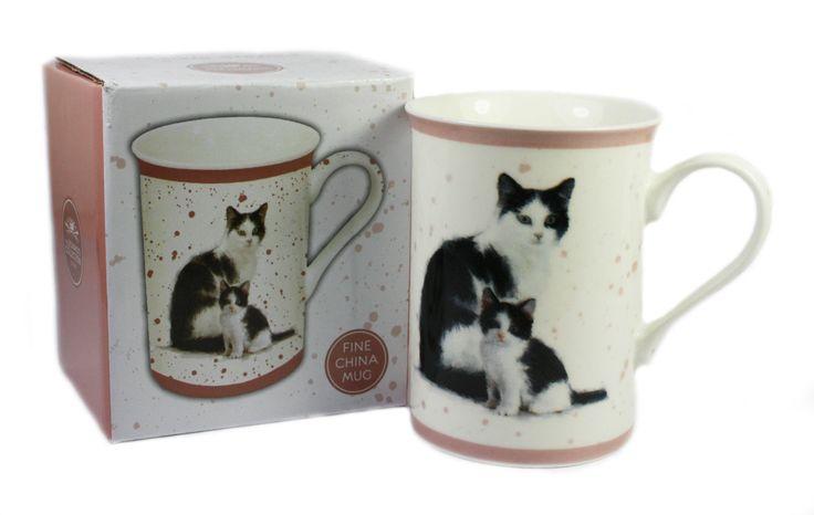 Cat Kitten Fine China Mug Tabby Ginger Black White Gift Boxed Present For Owner