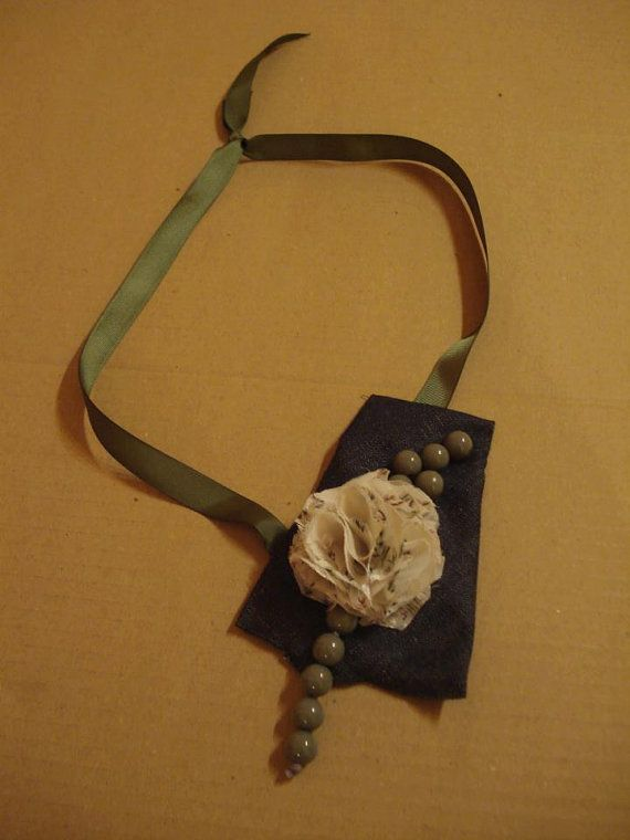 Assymetrical denim necklace with ivory flower by art2artshop