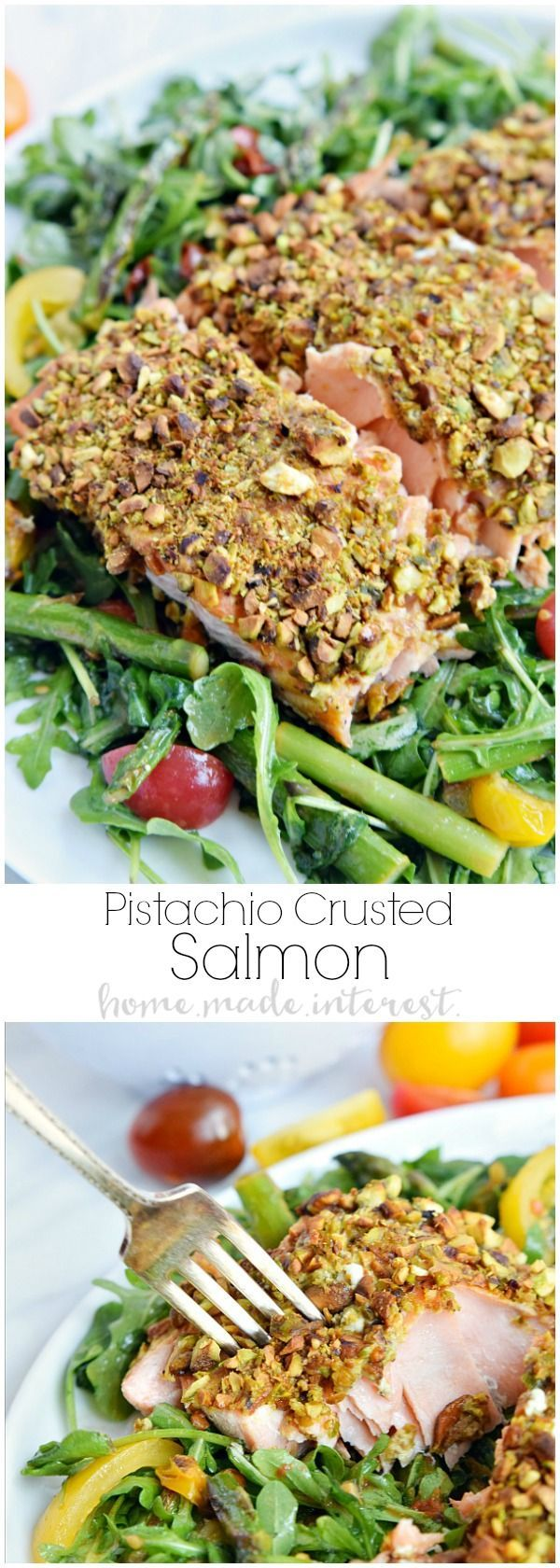 This Pistachio Crusted Salmon recipe is elegant enough for a dinner party and makes an easy weeknight dinner recipe. Pistachio and Dijon mustard pair together perfectly in this healthy low carb recipe. AD VersatilityofSlate /geappliances/