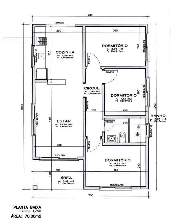 Planta baixa casas 3 quartos 70m2 pesquisa google for 70m2 house design