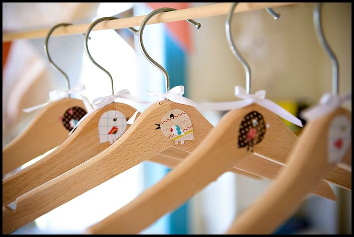DIY - Mod Podge Wooden Hangers Tutorial. This would be so sweet as a gift to a busy parent.