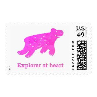 Explorer at heart stamp. This stamp sends only good messages!#Travel#Postage#CuteStamp#AdorableStamp#FreshDesignerStamp#Explorer#Mountains#Hiking#Skiing#Soulful#HappyStamp#Stamp#Pink#WorldTravel#EuropeTrip#Holidays
