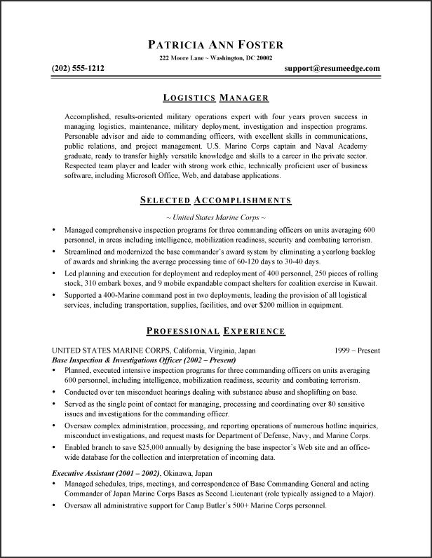 marine resume examples marines resume writing example marines to - Marine Resume Examples