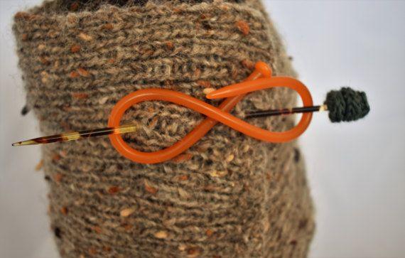 Orange and tortoiseshell Shawl / scarf pin handmade from