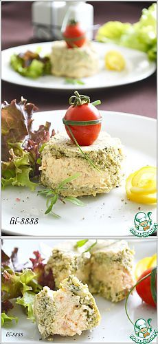 Суфле из семги со шпинатом и творожным сыром.