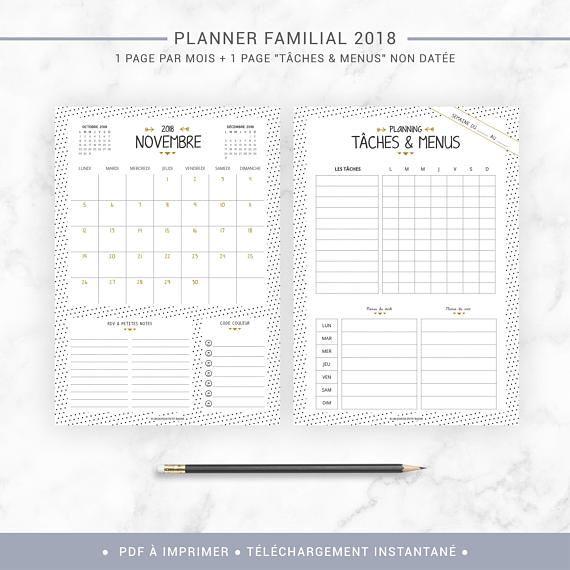 Calendrier 2021 Planning Organiseur familial 2020 2021 à imprimer, planner de famille avec