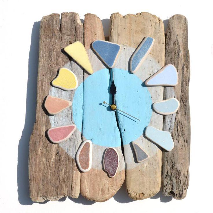 driftwood and potery from the sea clock - orologio con legni e mattonelle trovate a mare