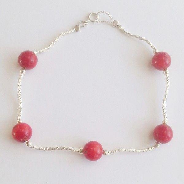 DIY bracelet en argent avec perles de corail