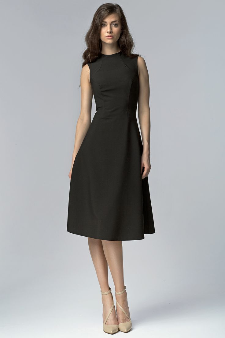Nife S62 Elegancka sukienka MIDI - czarny