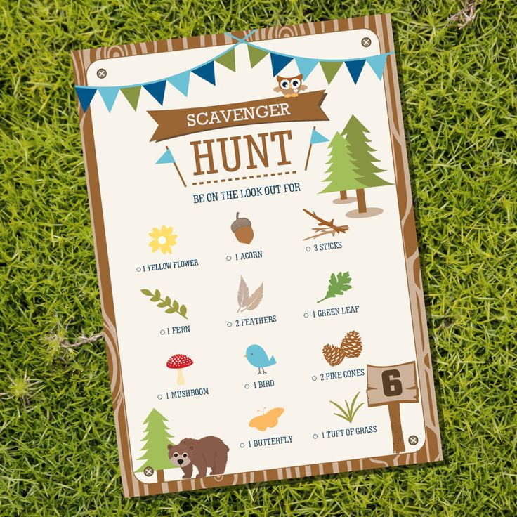 Scavenger Hunt Party Game - Camping Tent Party Party Game - Instant Download - Editable File - Personalize at home with Adobe Reader by SunshineParties on Etsy https://www.etsy.com/listing/229400246/scavenger-hunt-party-game-camping-tent