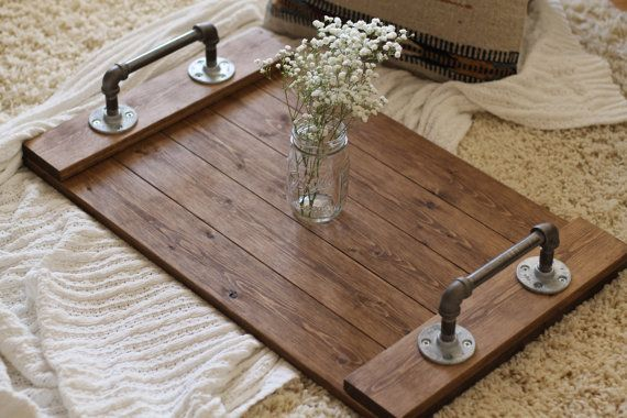 Rustic Industrial Tray Wooden Tray Ottoman by DunnRusticDesigns