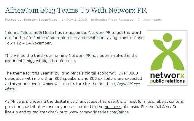 #AfricaCom 2013 Team Up with #NetworxPR