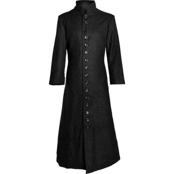 Preacher Man | Black gothic wool coat with very long button row