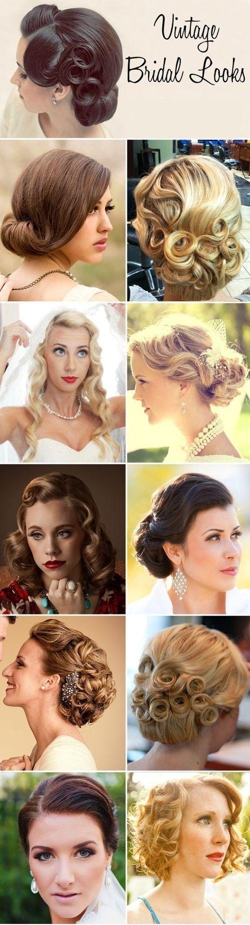 Vintage bridal hair styles.