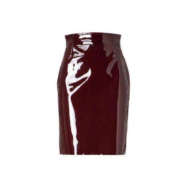 Wanda Nylon Sophia Bleistiftrock vinyl bordeaux www.emeza.de (5.205 HRK) ❤ liked on Polyvore featuring skirts, shorts and skirts, skirts and shorts, nylon skirt, vinyl skirting, red skirt and red vinyl skirt