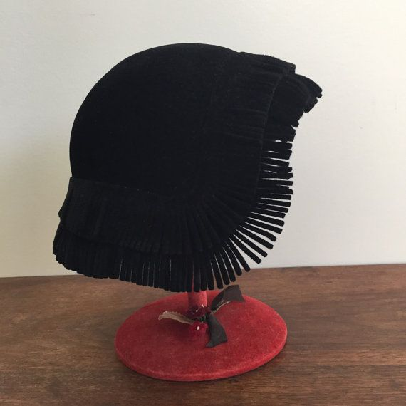 1930's black felt cloche hat with fringe by lilynymph on Etsy