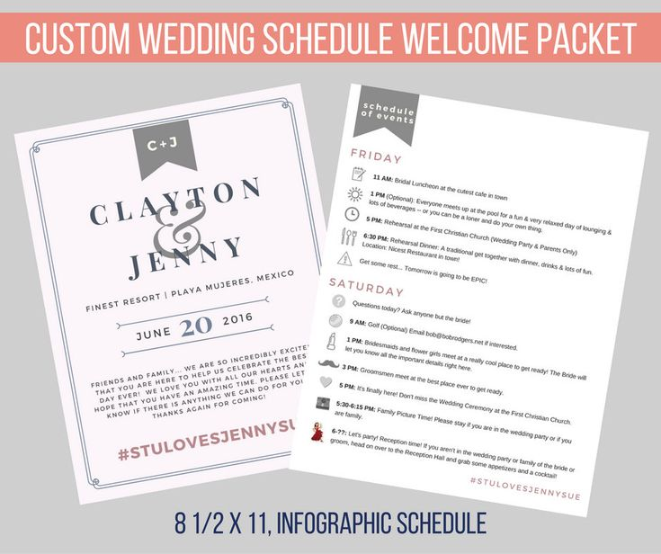 Wedding Guest Custom Printable Schedule of Events   Info Packet   Destination Weddings   Itinerary   Out of town guests   Welcome Bag by DesignsByJSue on Etsy