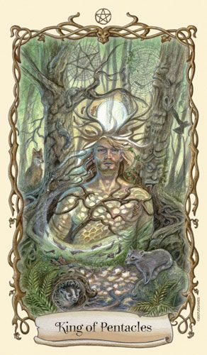 King of Pentacles: Lord of the Greenwood by Lisa Hunt (Fantastical Creatures Tarot)