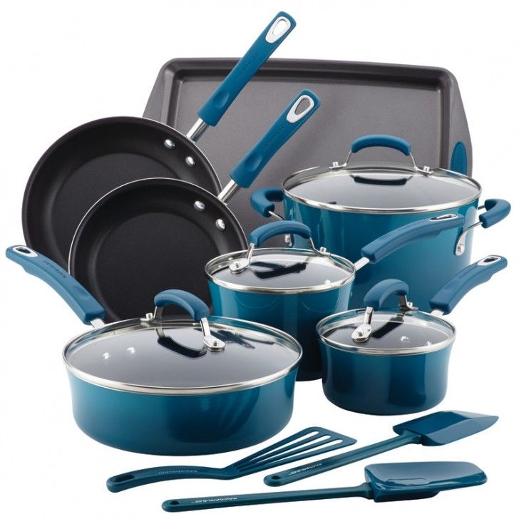Rachael Ray Hard Enamel Nonstick 14-Piece Cookware Set, Marine Blue
