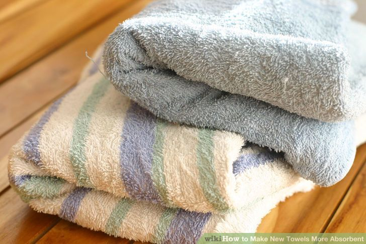 Image titled Make New Towels More Absorbent . Also how to remove softener residue from old towels.