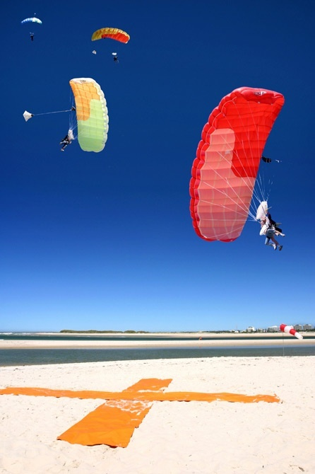 Sky-Diving over Caloundra Beach, QLD, Australia.