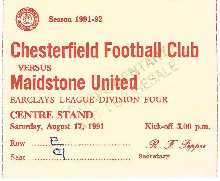 Ticket - Chesterfield v Maidstone United 17.08.91