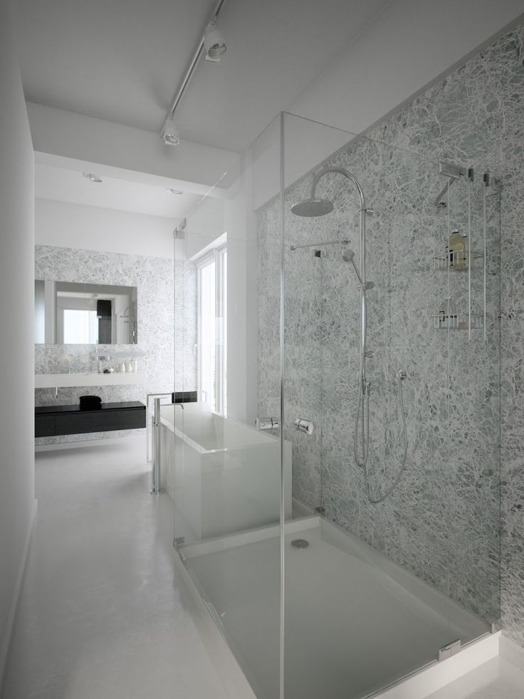Black And White Lofts, Simplistic Yet Modern: Modern Black White Shower Room Glass Wall