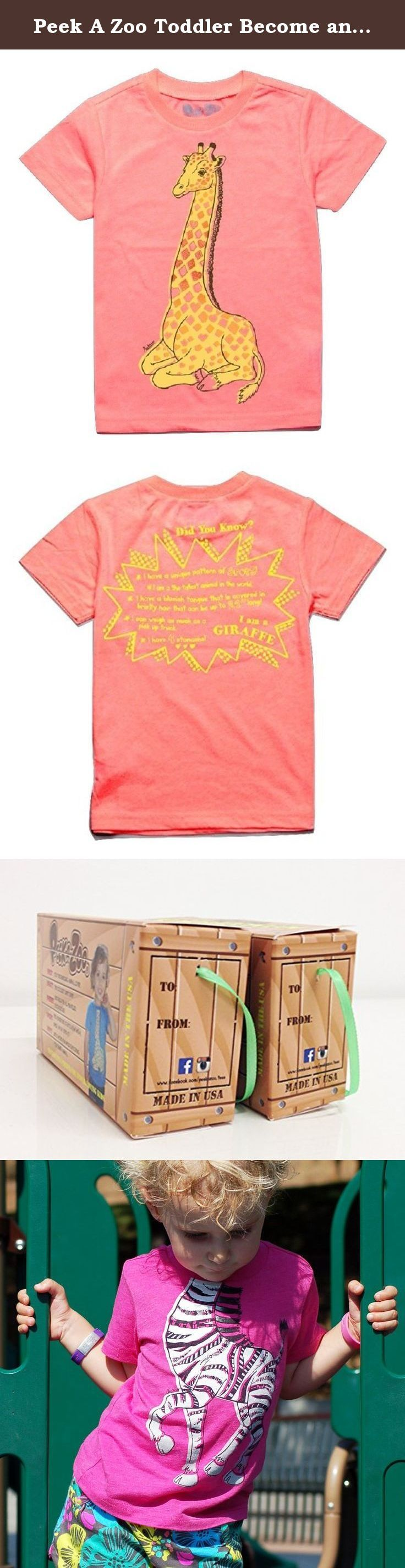 Peek A Zoo Toddler Become an Animal Short Sleeve Tshirt- Giraffe Neon Coral - 3T. What a cute and genius idea! Kids can quickly become their favorite animal by putting on this tee that features the animal's body while the head is for the kid. Trust us, kids go crazy with these awesome tees! But it gets better - the back features educational fun facts about each animal! Cute, comfy, fun, interactive and educational....and made in the USA. 3/4 sleeves. Whether you are going out for a trip…