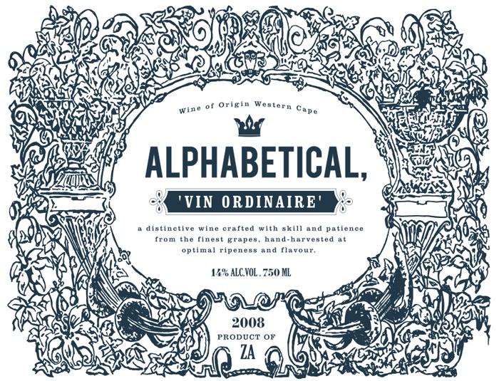 Alphabetical wine label #branding #packaging