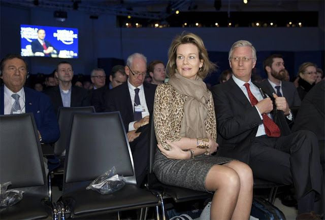 King Phillipe and Queen Mathilde at the World Economic Forum in Davos, Switzerland. 22/01/2015