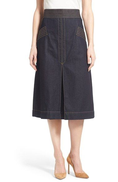 Olivia Palermo + Chelsea28 Retro Denim Skirt available at #Nordstrom - Like the pocket and waistband details.  Slit in the back looks really high, otherwise looks like a fun skirt.