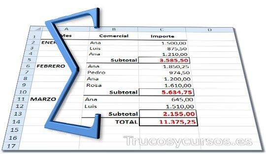 Suma en subtotales con rangos discontinuos en Excel.