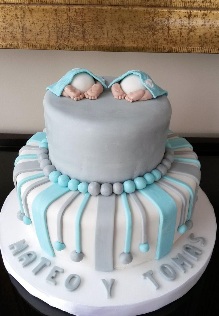 Torta Baby Shower mellizos. Elaborada por Dulce Repostería