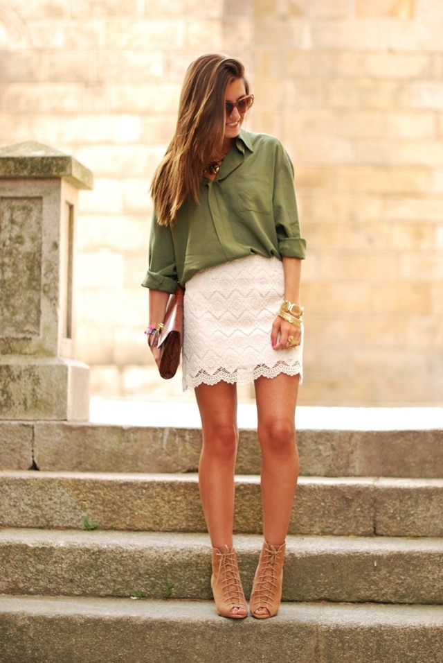 Oversized Olive Green Blouse and Fitted Lace Skirt