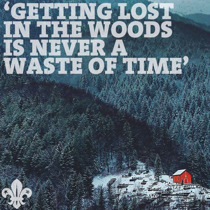 """""""Getting lost in the woods is never a waste of time"""""""