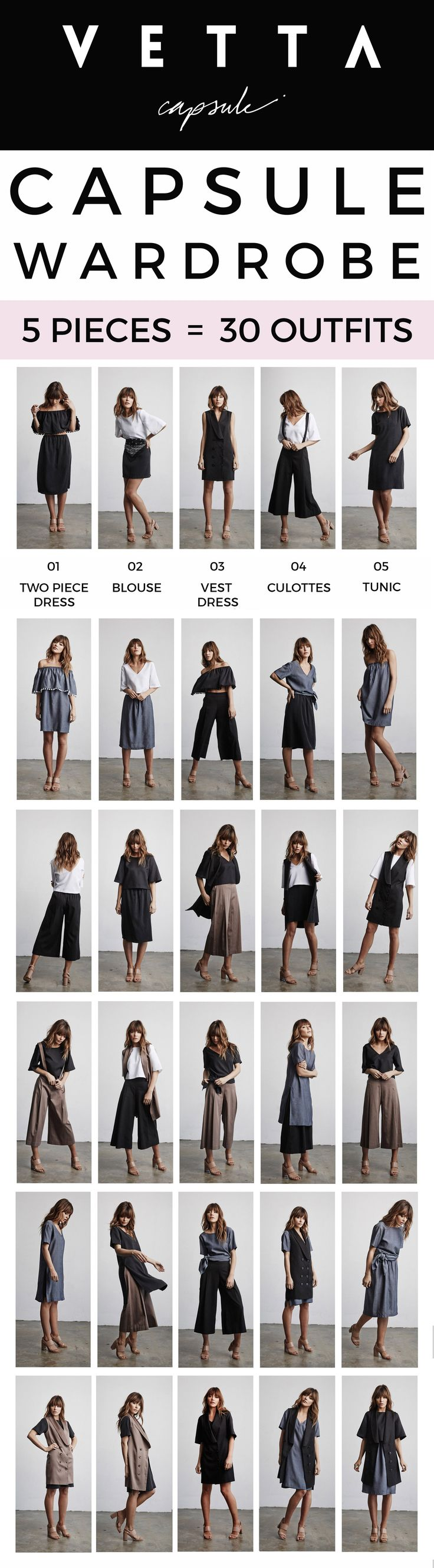 A 5 Piece Capsule Collection That Creates 30 Outfits // A months worth of outfits with only 5 pieces. You can shop the collection here! www.vettacapsule.com #vettacapsule #capsulewardrobe #ss16